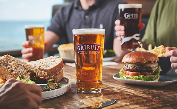 A sandwich, beef burger & a pint Tribute cask ale